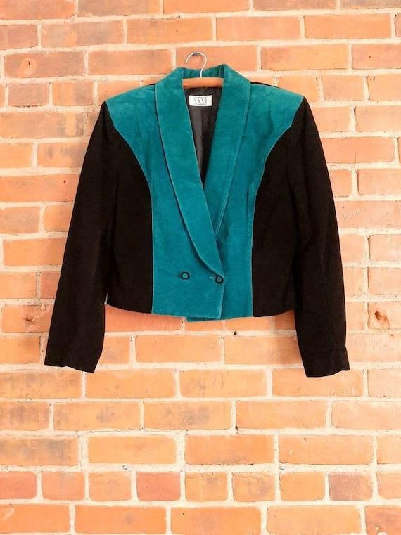 Vintage Leather Blazer, Black And Teal Leather Jac