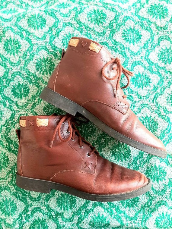 Vintage Brown Leather Booties, Lace Up Granny Boot