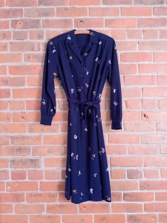 Vintage Navy Blue Floral Dress, Shirtwaist Dress