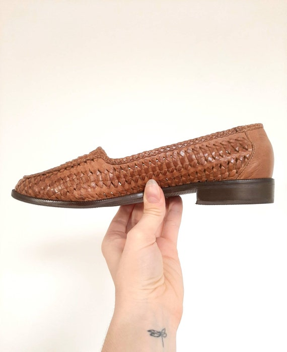 Vintage Leather Loafers, Ladies Vintage Brown Huar