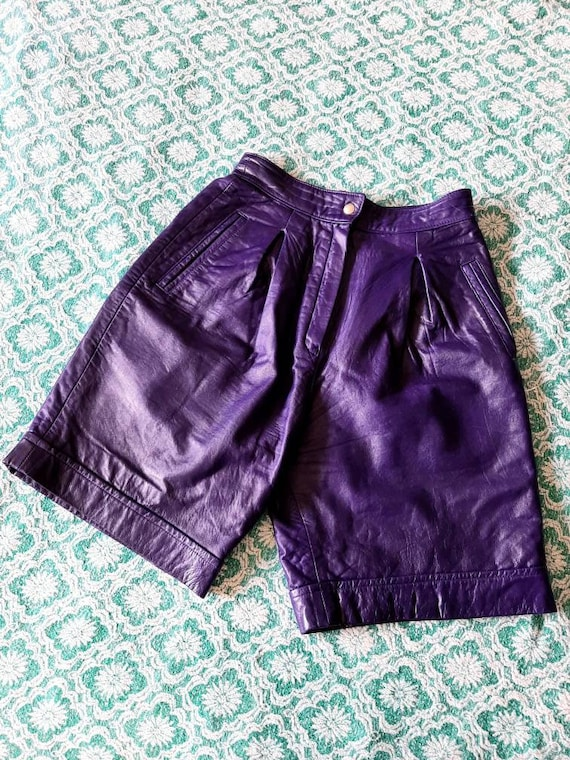 Vintage Leather Shorts, Purple Ladies Shorts