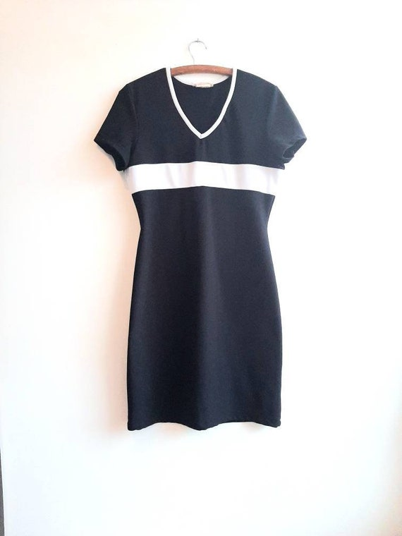 Vintage Black And White Dress, Vintage Tshirt Dres