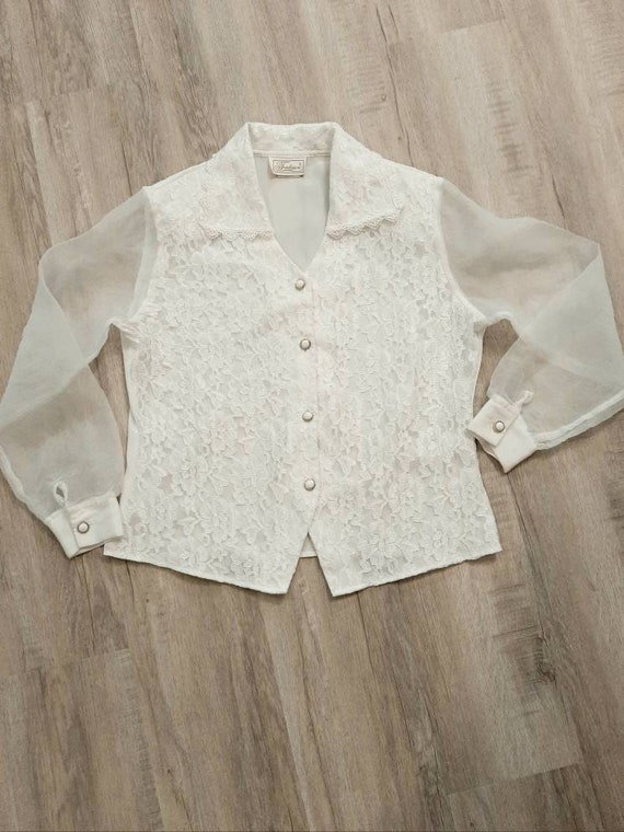 Vintage Lace Blouse, White Lace Blouse - image 1