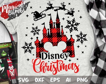 Disney Christmas Svg, Christmas Castle Svg, Disney Christmas Plaid Svg, Mickey Plaid Svg, Christmas Disney Cut files, Svg, Dxf, Png, Eps