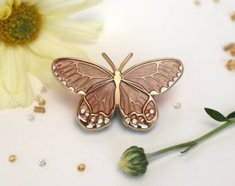Amber Phantom Haetera Piera Butterfly Enamel Pin -Translucent Champagne Beige Patches & Pins Lapel Brooch Gold Plated Accessories Entomology