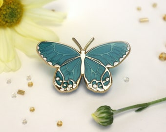 Teal Blue Green Amber Phantom Haetera Piera Butterfly Enamel Pin -Translucent Patches & Pins Lapel Brooch Gold Plated Accessories Entomology