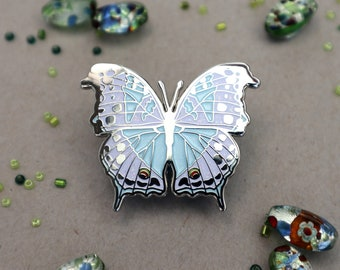 Mother of Pearl Butterfly Enamel Pin | Protogoniomorpha parhassus Africa Patches Pins Lapel Brooch Glitter Entomology Accessories Butterfly