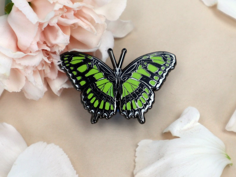 Malachite Butterfly Enamel Pin  Dorsal or Overwing Colors image 1