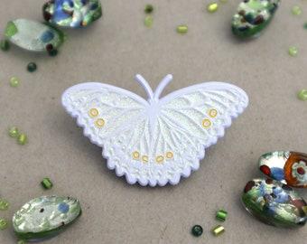 White Morpho Butterfly Enamel Pin | Morpho polyphemus |Patches Pins Lapel Brooch Glitter White Dye Plated Entomology Accessories Art Nouveau