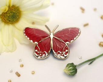 Amber Phantom Haetera Piera Butterfly Enamel Pin Translucent Red |Patches & Pins with Pinbacks Lapel Brooch Art Nouveau-Inspired Accessories