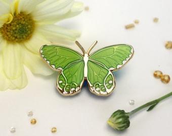Amber Phantom Haetera Piera Butterfly Enamel Pin - Translucent Leaf Green | Patches & Pins Lapel Brooch Accessories Entomology