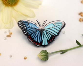 Blue Morpho Butterfly Enamel Pin | Common Morpho peleides |Patches & Pins Lapel Brooch Accessories Entomology Gynandromorph