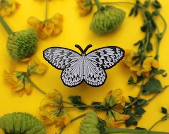 Paper Kite or Rice Paper Butterfly Enamel Pin SOFT Enamel   Glow in the Dark   Black Dyed Metal   Accessories Entomology