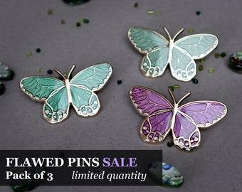 FLAWED Discounted Purple, Emerald Green, and Sage Green Amber Phantom Butterfly Enamel Pin Set | Enamel Pins | Sandblast Translucent
