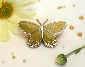 Amber Phantom Haetera Piera Butterfly Enamel Pin   Translucent Yellow Honey Lemon   Patches & Pins Lapel Brooch Gold Plated Accessories