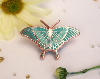 Emerald Swallowtail Butterfly Enamel Pin | Papilio palinurus | Patches Pins Rose Gold Lapel Brooch Glitter Entomology Accessories Butterfly