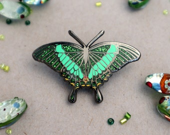 Emerald Swallowtail Butterfly Enamel Pin | Papilio palinurus |Patches Pins Pinback Lapel Brooch Glitter Entomology Accessories Butterfly Pin