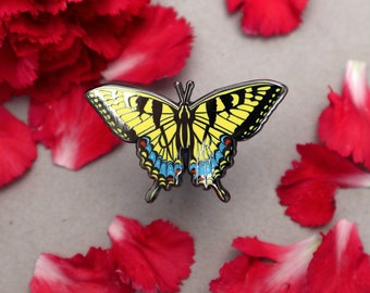 Eastern Tiger Swallowtail Butterfly Enamel Pin | Papilio glaucus | Glitter | Black Nickel Toned | Accessories Entomology