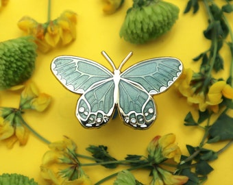 Sage Green-Gray Amber Phantom Butterfly Enamel Pin   Translucent   Patches & Pins   Pins and Pinback Lapel Brooch   Gold Tone  Accessories