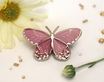 Amber Phantom Butterfly Enamel Pin | Translucent Pink | Patches & Pins | Pins and Pinback Lapel Brooch | Sandblast Gold Tone| Accessories