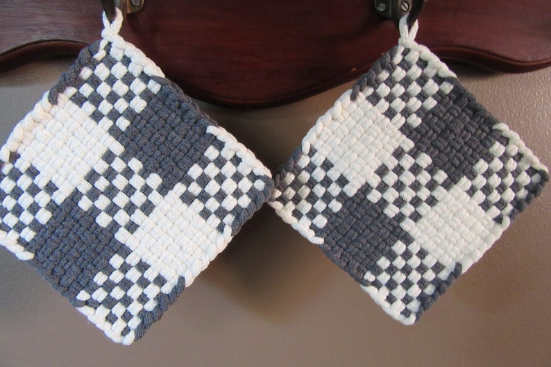 They are great gifts for many occasions. set of 2 Handmade potholders woven with cotton loops on a traditional 5.5 square potholder loom
