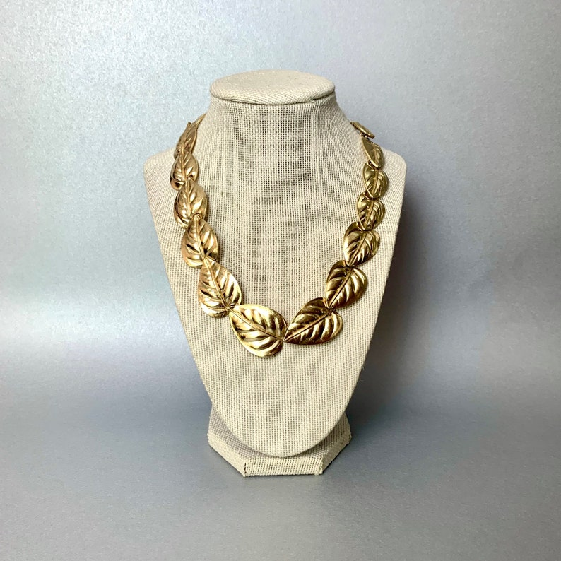 Vintage Trifari TM Choker Necklace Leaves Signed Costume Jewelry Gift for Her. Gold Tone Chunky Leaf Necklace