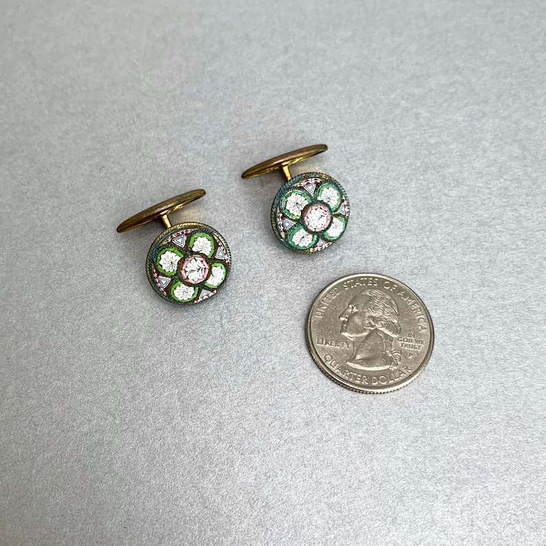 Victorian Antique Jewelry Gift for Him. Antique Micro Mosaic Italian CuffLinks Gold Tone Leaf Swank Mosaic Suit Accessories