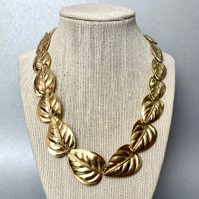 Gift for Her. Leaves Signed Costume Jewelry Vintage Trifari TM Choker Necklace Gold Tone Chunky Leaf Necklace