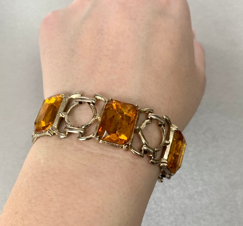 Bangle Jewelry Vintage Yellow Citrine Rhinestones Bracelet Silver Tone Victorian Revival Bracelet Gift for Her.
