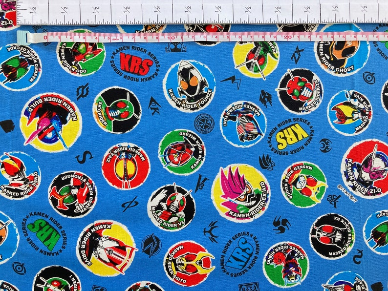 110cm x 50-110cm Made in Japan Dinosaur Anime Crafting Sewing Kamen Rider Japanese Fabric Clothes Vintage Super Hero