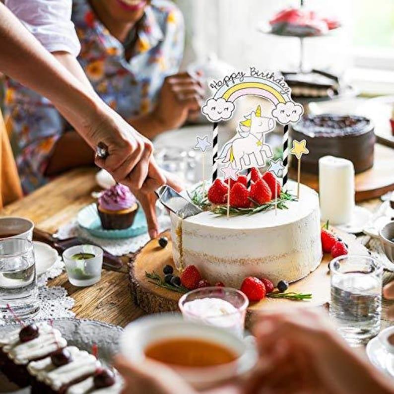 6 pcs Happy Birthday Cake Topper Happy Birthday Unicorn Birthday Party Supplies, Birthday Party Decorations Unicorn Cake Topper