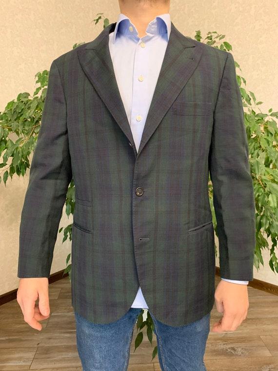 Brunello Cucinelli Mens Blazer Jacket Green Blue … - image 1