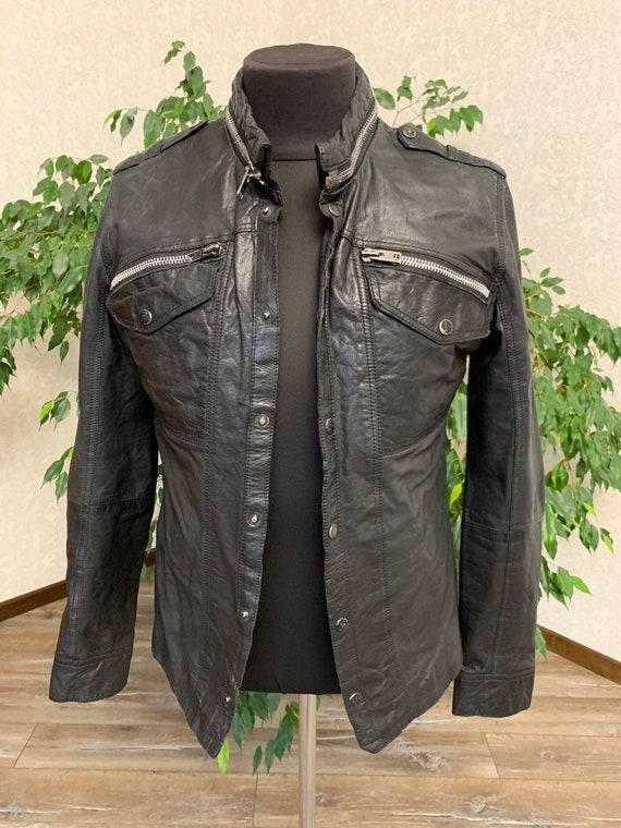All Saints Mens Leather Jacket Blazer Black size L