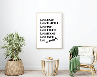 I am brave Printable Art A2/A3/A4 Black, Motivational Quote Poster, Typography Art, Printable Wall Art, Inspirational Art