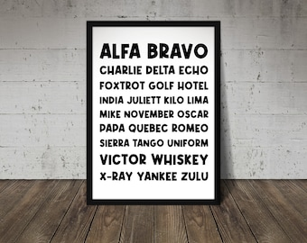 Nato Phonetic Alphabet Printable Art A2/A3/A4 Black, Motivational Quote Poster, Typography Art, Printable Wall Art, Inspirational Art