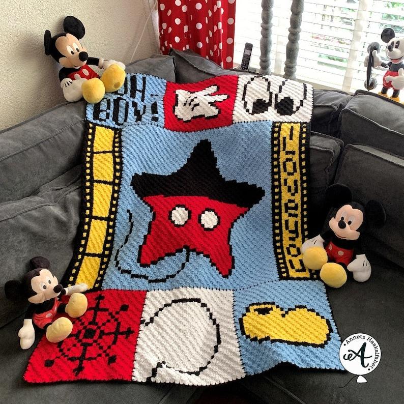 Crochet pattern C2C Mickey afghan image 0