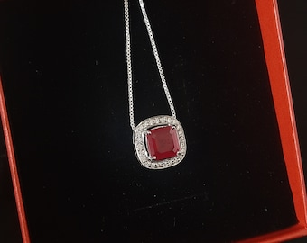 Cubic Zirconia 925 Sterling Silver Ruby Pendant/Charm Bold Pendants/Trending Cushion Shape Necklace/Bridesmaid Gifts/Anniversary Jewellery