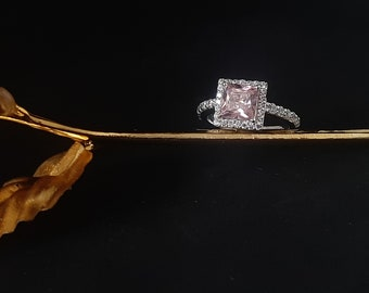 Pink CZ Luxury Princess Cut Ring in 925 sterling silver/Beautiful Wedding Engagement Ring/Cocktail ring/Ready to ship silver ring/pink gem