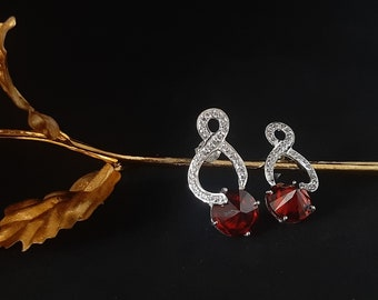 Red Garnet Cubic Zirconia Earrings,925 Sterling Silver Gemstone Studded Prong Setting Earring,CZ Jewellery,Gifts for Her,Bridesmaid Gifts