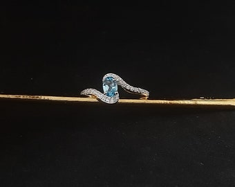 Topaz Oval cut Sterling Silver Engagement Ring/Luxury Dainty Style Trending Ready to ship Halo Rings/925 Silver Blue Topaz Fine Jewellery