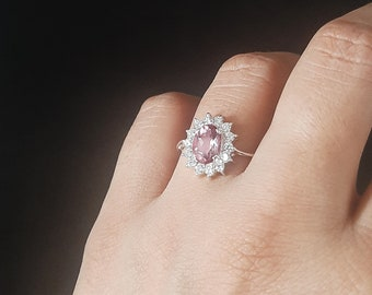 Pink Topaz Gemstone CZ Trending Wedding Bridal Rings/925 Silver Halo Rings/Oval Cut Cubic Zirconia Engagement Ring/Cluster Ring for Her/Ring