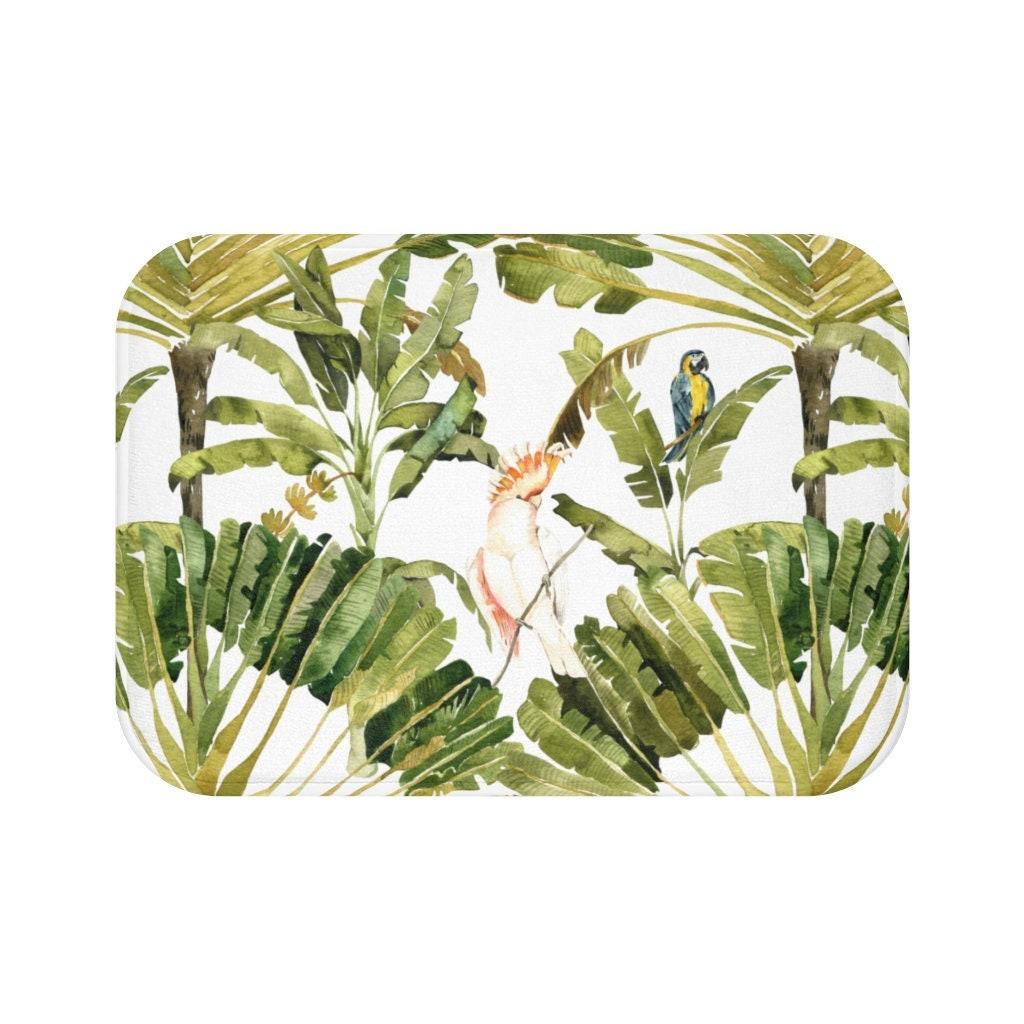 Bath Mat Topical Bathroom mat Palm leaves bath mat boho   Etsy