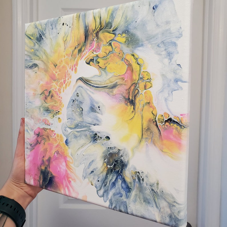 Pair! 10x10 Fluid Art Stretched Canvas