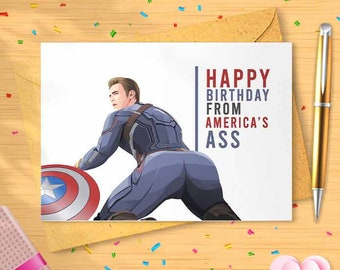 Captain America Birthday Card - From America's Ass, Greeting Card, Birthday Card