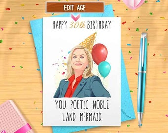 Leslie Knope Birthday Card - Customize Age - Parks & Recreation 30th, 31th, 32nd, 33rd, 34th, 35th, 36th, 37th, 38th, 39th, 40th