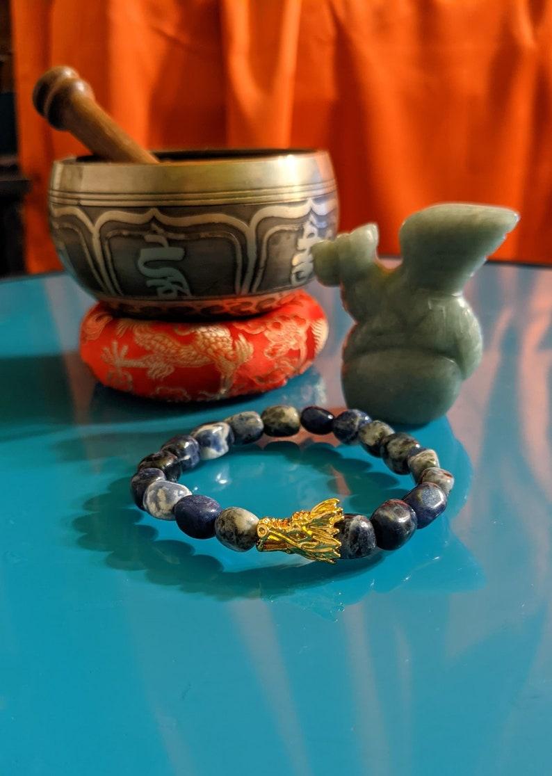 Dragon Protetion Sodalite Nugget BEaded Bracelet Reiki charged
