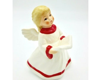 Free Shipping USA Vintage Choir Angel Singing and Holding Music Standing in Green Grass and Flowers