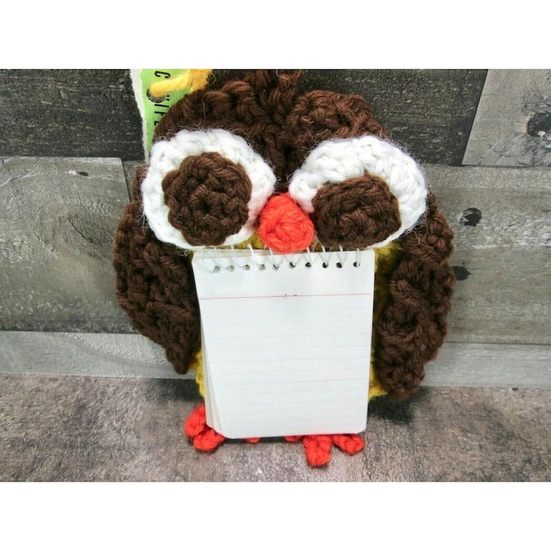 Vintage 70s Handmade Crochet Owl Hanging Notepad Holder Magnet Set Retro Kitsch