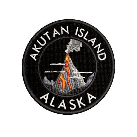 Sew-On Souvenir Gear Applique Akutan Island Volcano Embroidered Patch Iron