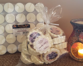 Save 42% Economy Tart N Tealight Bundle - 25 7-Hr Unscented Pure Soy Tea Lights and 24 No-Stick Natural Wax Tarts, Many Scents Fragrances